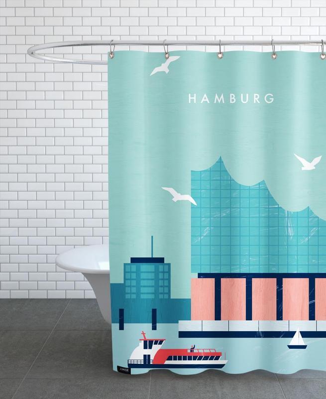 Travel, Vintage Travel, Hamburg Elbphilharmonie Shower Curtain