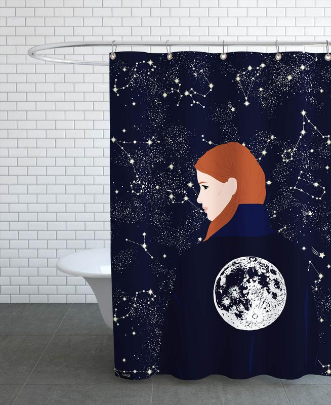 Dreamy, Back to the Moon Shower Curtain