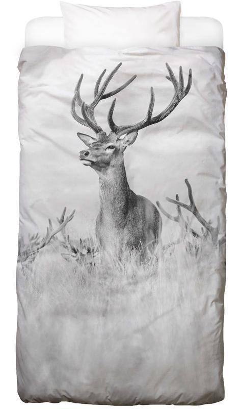 Cerfs, Noir & blanc, Stag Pride by Monika S. Jakubowska Linge de lit