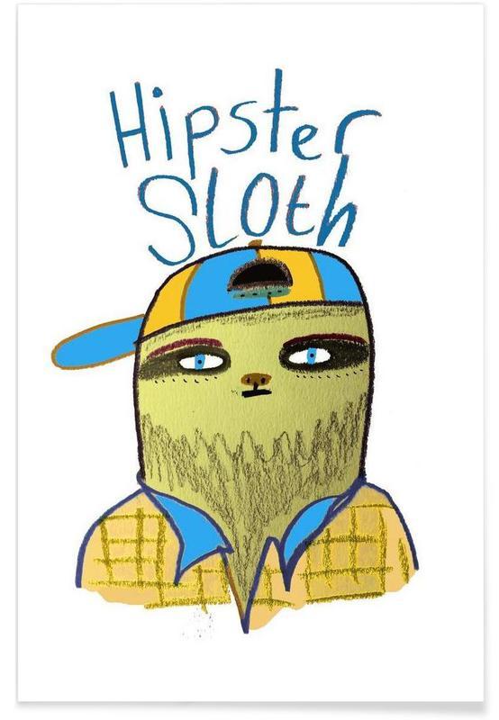 Paresseux, Hipster Sloth affiche