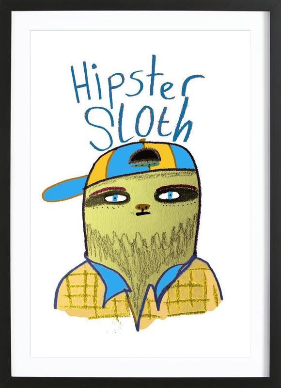 Hipster Sloth Framed Print
