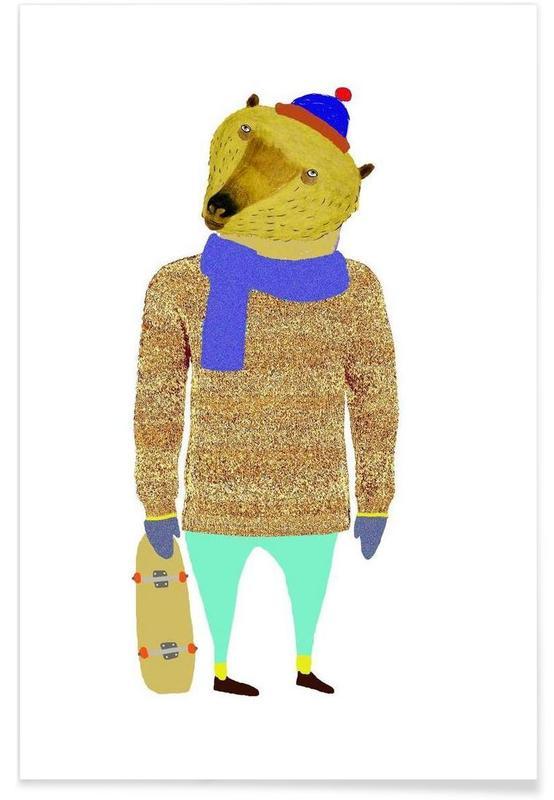 Nursery & Art for Kids, Bear Skater Poster
