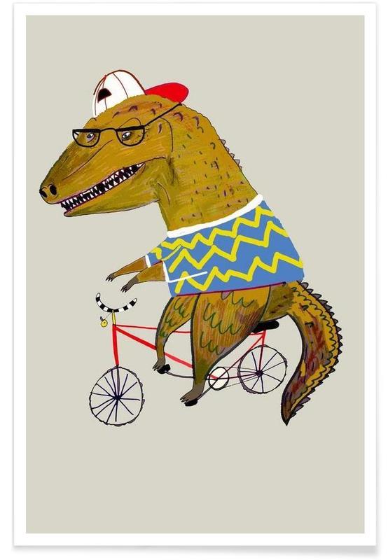 Kunst voor kinderen, Dinosaurussen, Dinosaur Biker poster