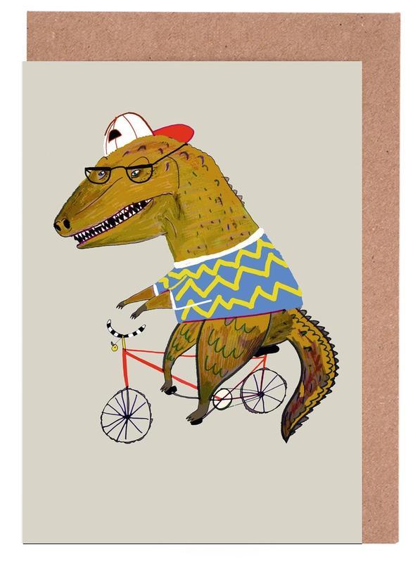 Kinderzimmer & Kunst für Kinder, Dinosaurier, Dinosaur Biker -Grußkarten-Set