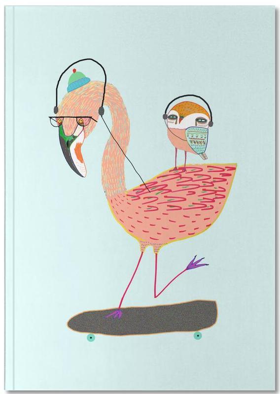 Flamingo and Owl Headphones Notebook