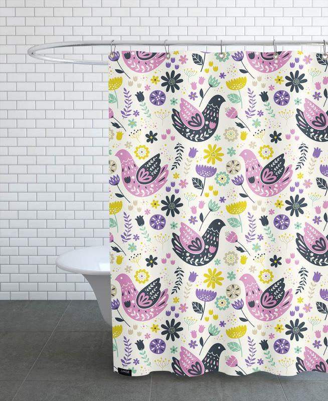 Scandinavian Birds Pattern Shower Curtain