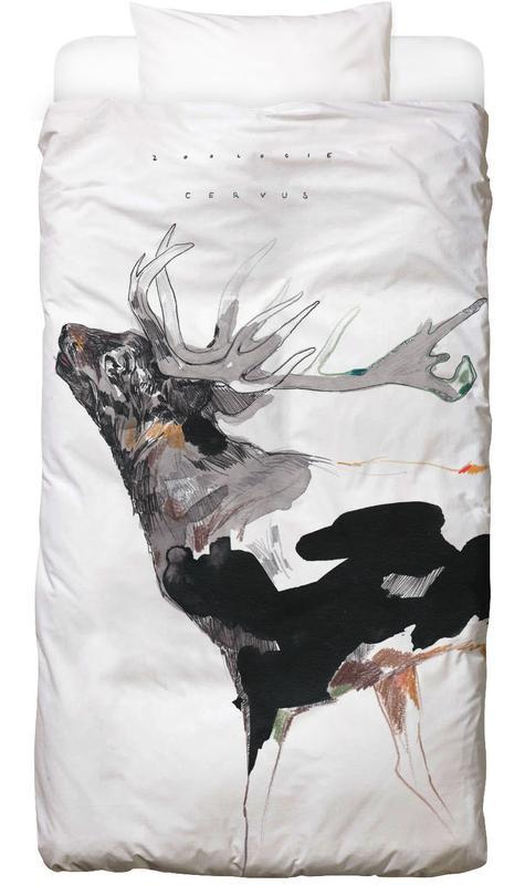 Cerfs, Art pour enfants, Hirsch 1 Linge de lit