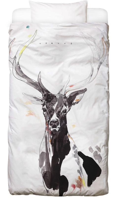 Cerfs, Art pour enfants, Hirsch 3 Linge de lit