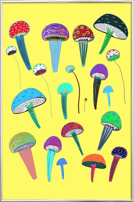 Mushrooms Poster in Aluminium Frame