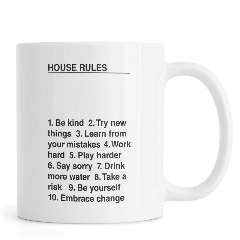 Umzug, Zitate & Slogans, Schwarz & Weiß, House Rules -Tasse