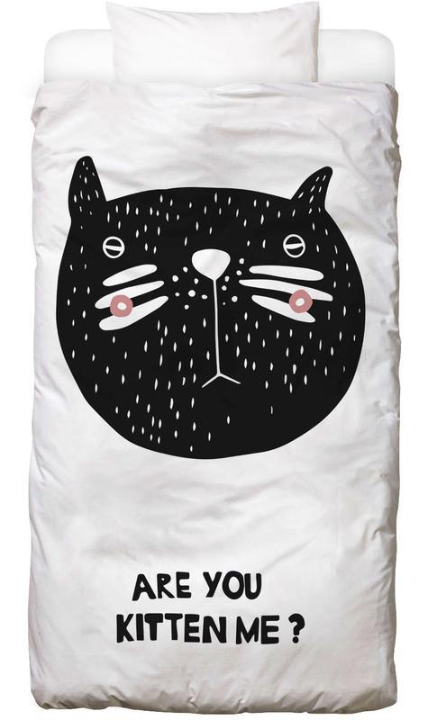Katzen, Kinderzimmer & Kunst für Kinder, Schwarz & Weiß, Are You Kitten Me? -Kinderbettwäsche