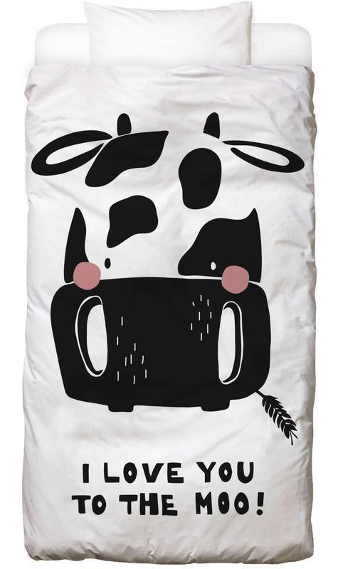 Kinderzimmer & Kunst für Kinder, Schwarz & Weiß, Kühe, I Love You To The Moo. Bettwäsche