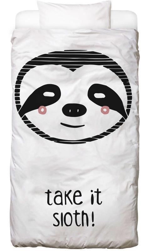 Paresseux, Art pour enfants, Noir & blanc, Take it Sloth! Linge de lit