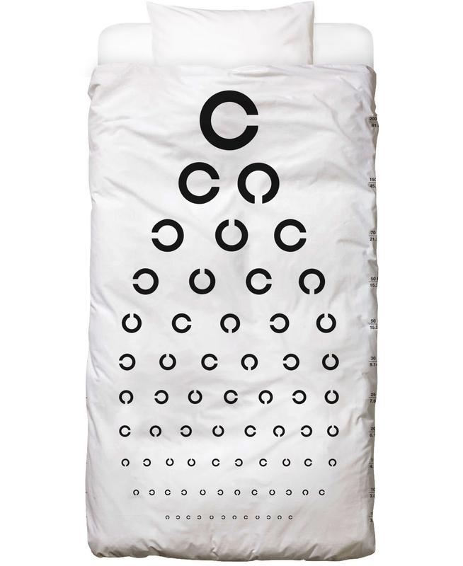 Schwarz & Weiß, Eye Chart Japanese Design Bettwäsche