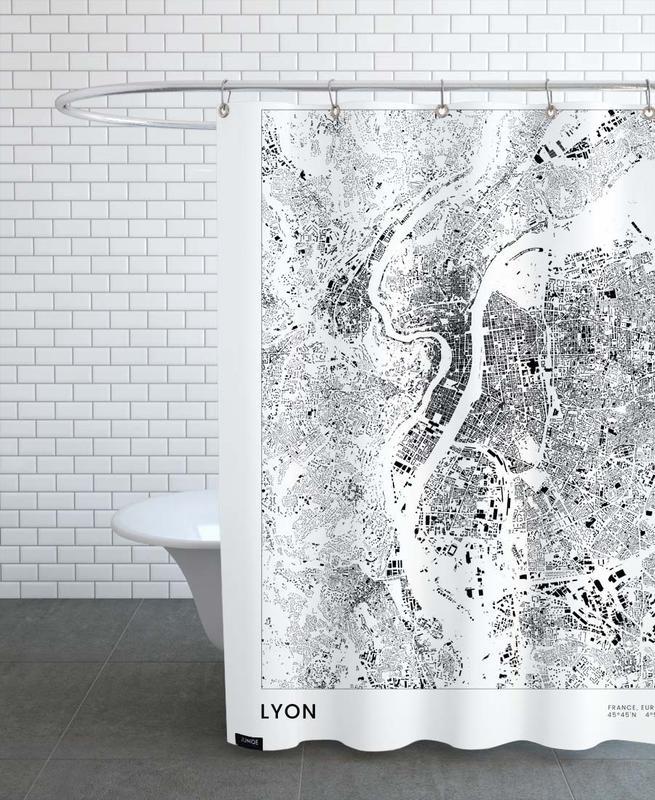 Black & White, Lyon, Lyon Shower Curtain