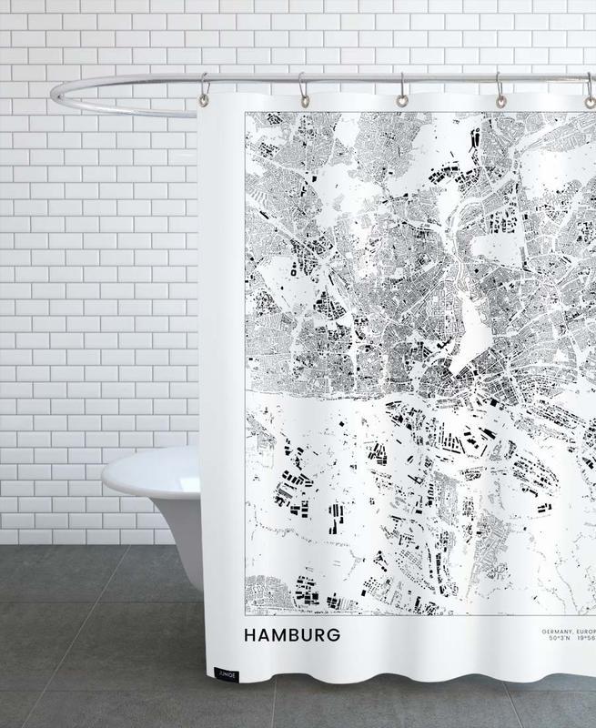 Hamburg, Black & White, Hamburg Shower Curtain