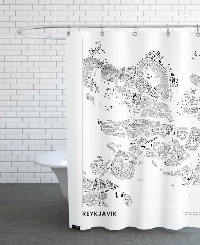 Schwarz & Weiß, Reise, Stadtpläne, Reykjavik -Duschvorhang