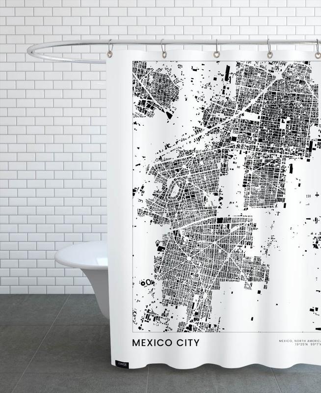 Schwarz & Weiß, Reise, Stadtpläne, Mexico City -Duschvorhang