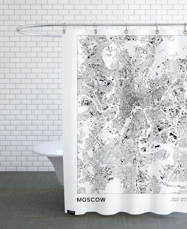 Schwarz & Weiß, Reise, Stadtpläne, Moscow -Duschvorhang