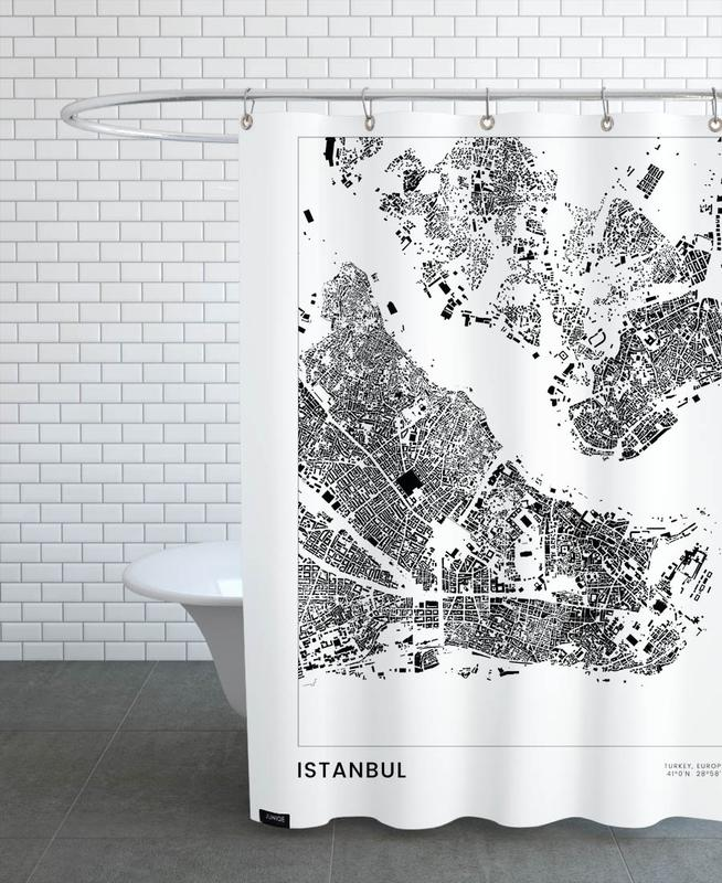 Noir & blanc, Voyages, Cartes de villes, Istanbul, Istanbul rideau de douche