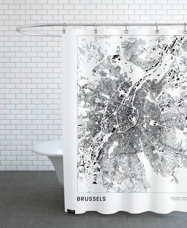 Schwarz & Weiß, Reise, Stadtpläne, Brussels -Duschvorhang