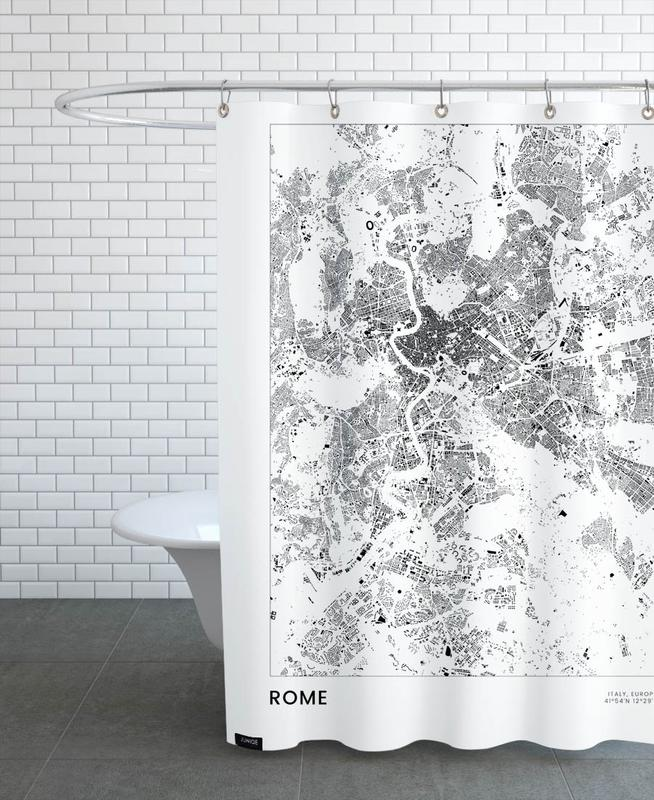 Rom, Schwarz & Weiß, Reise, Stadtpläne, Rome -Duschvorhang