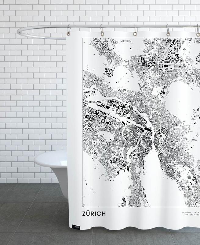 Noir & blanc, Voyages, Cartes de villes, Zurich, Zürich rideau de douche