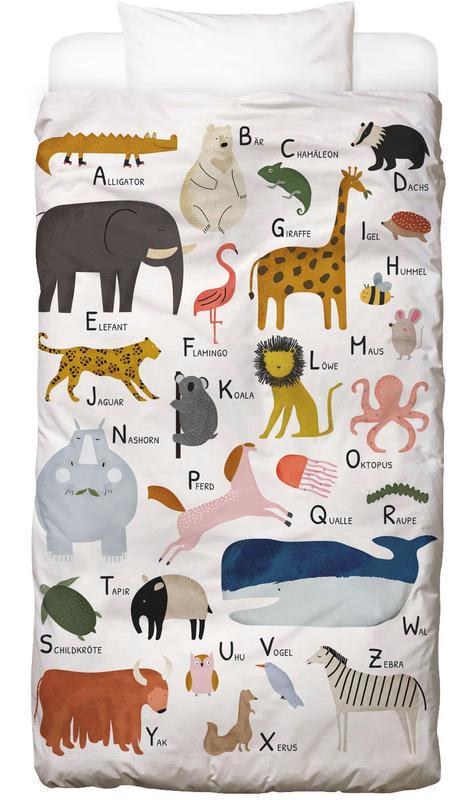 Alphabet et lettres, Art pour enfants, Tiere von A bis Z housse de couette enfant