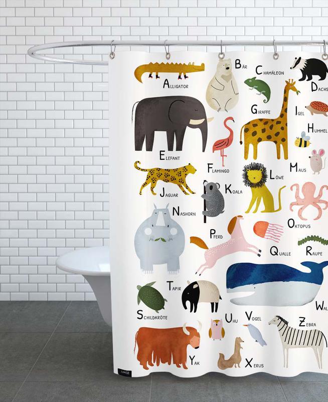 Alphabet & Buchstaben, Kinderzimmer & Kunst für Kinder, Tiere von A bis Z -Duschvorhang