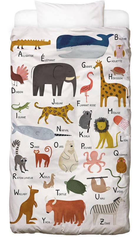 Alphabet & Buchstaben, Kinderzimmer & Kunst für Kinder, Abécédaire des animaux -Kinderbettwäsche