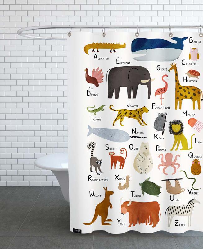 Alphabet & Buchstaben, Kinderzimmer & Kunst für Kinder, Abécédaire des animaux -Duschvorhang