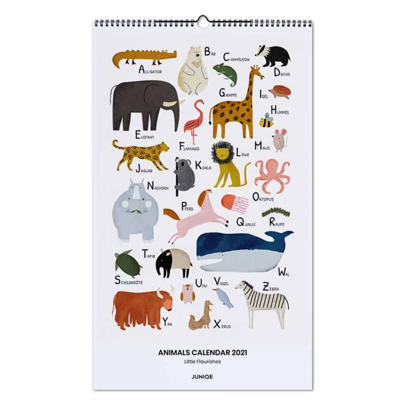 Kinderzimmer & Kunst für Kinder, Little Flourishes - Animals Calendar 2021 -Wandkalender