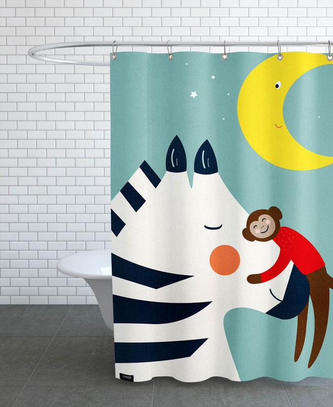 Kinderzimmer & Kunst für Kinder, Affen, Zebras, Goodnight Hug -Duschvorhang
