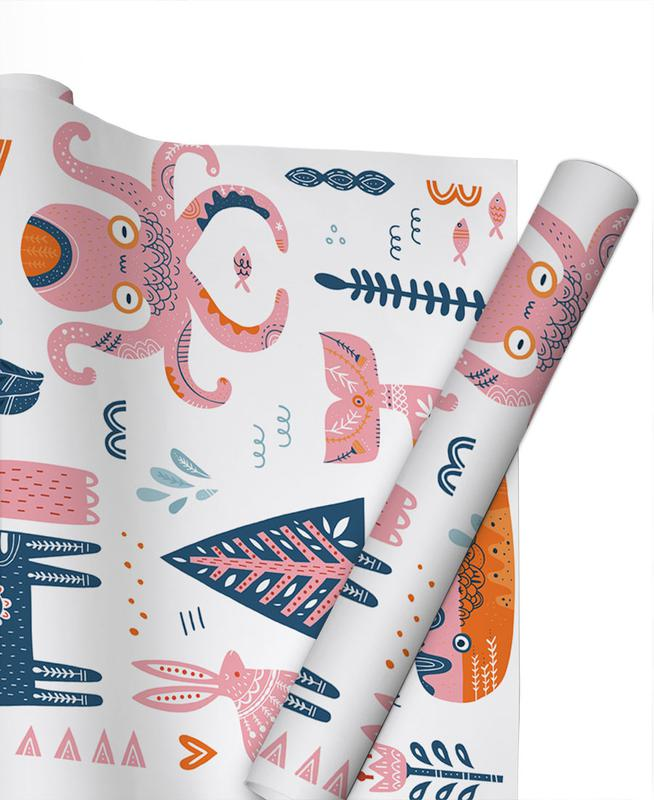 Patchwork Animals Gift Wrap
