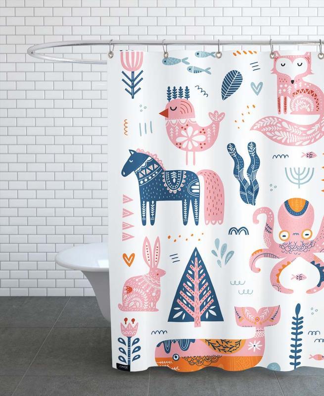 Kinderzimmer & Kunst für Kinder, Patchwork Animals -Duschvorhang