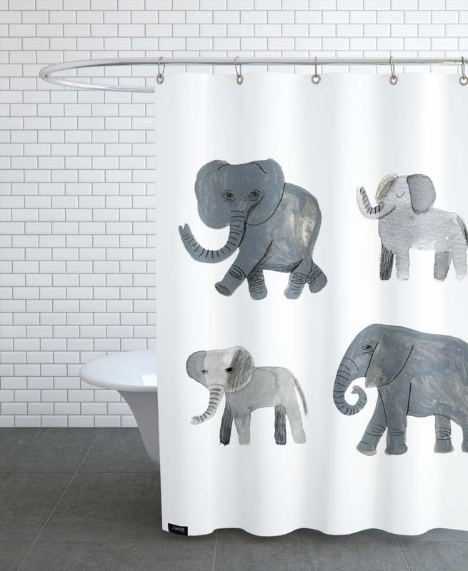 Kinderzimmer & Kunst für Kinder, Safari-Tiere, Nellie and co. -Duschvorhang