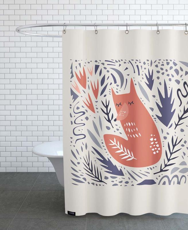 Füchse, Kinderzimmer & Kunst für Kinder, Hibernating Fox -Duschvorhang