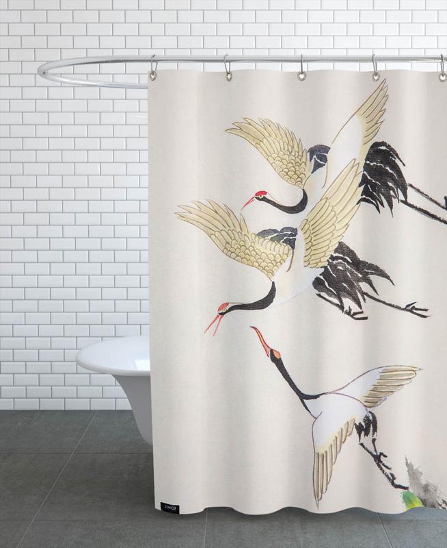 Japanisch inspiriert, Kraniche, Swooping Cranes -Duschvorhang
