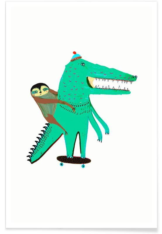 Art pour enfants, Paresseux, Croc Skater and Sloth affiche