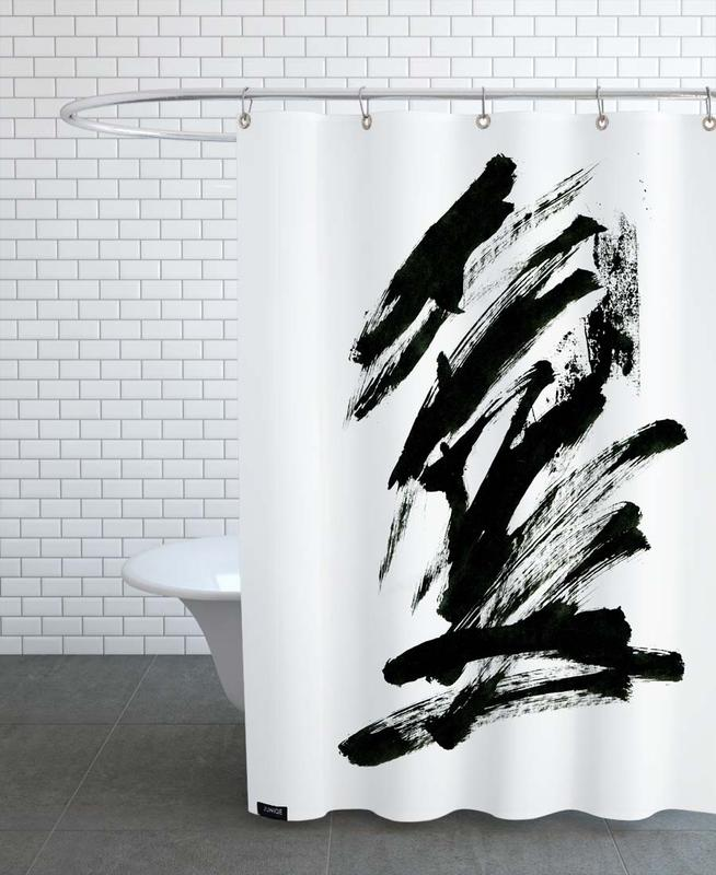 Black & White, Black Abstract Shower Curtain