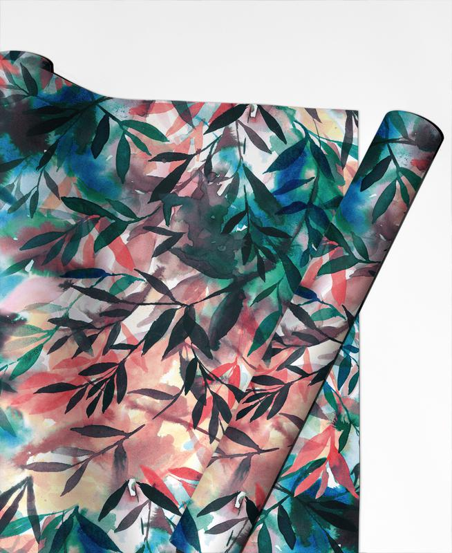 Leaves & Plants, Changes Coral Gift Wrap