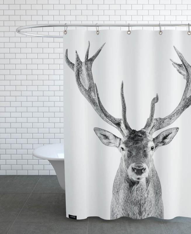 Kinderzimmer & Kunst für Kinder, Hirsche, Schwarz & Weiß, Weihnachten, Reindeer Classic -Duschvorhang
