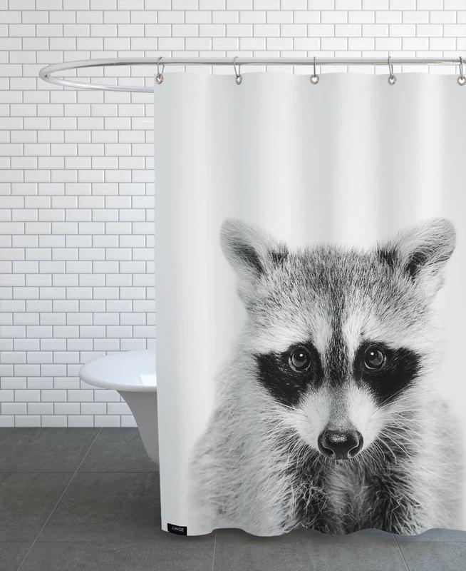 Schwarz & Weiß, Kinderzimmer & Kunst für Kinder, Raccoon Classic -Duschvorhang