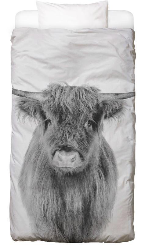 Hochlandrinder, Kühe, Kinderzimmer & Kunst für Kinder, Schwarz & Weiß, Young Highland Cow Classic -Kinderbettwäsche