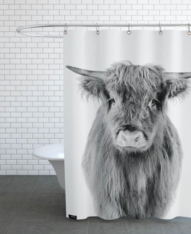 Kinderzimmer & Kunst für Kinder, Hochlandrinder, Schwarz & Weiß, Kühe, Young Highland Cow Classic -Duschvorhang