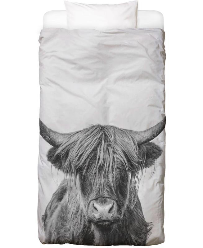 Kinderzimmer & Kunst für Kinder, Schwarz & Weiß, Kühe, Hochlandrinder, Highland Cow Classic Bettwäsche