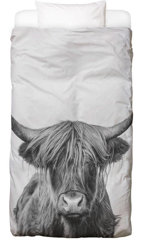 Hochlandrinder, Kühe, Kinderzimmer & Kunst für Kinder, Schwarz & Weiß, Highland Cow Classic -Kinderbettwäsche