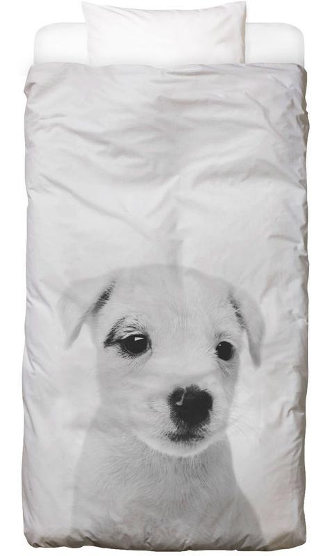 Hunde, Kinderzimmer & Kunst für Kinder, Schwarz & Weiß, Puppy III Classic -Kinderbettwäsche