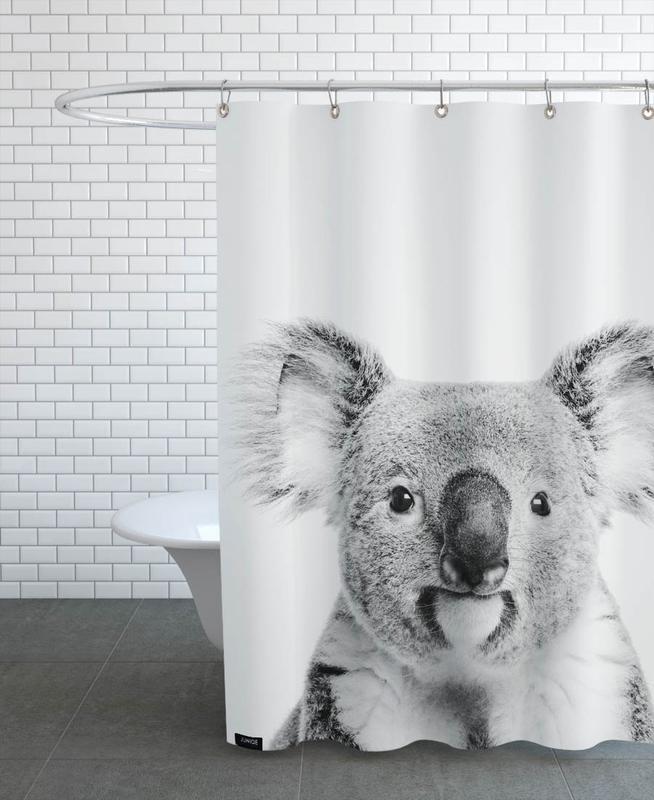 Kinderzimmer & Kunst für Kinder, Koalas, Schwarz & Weiß, Koala Classic -Duschvorhang