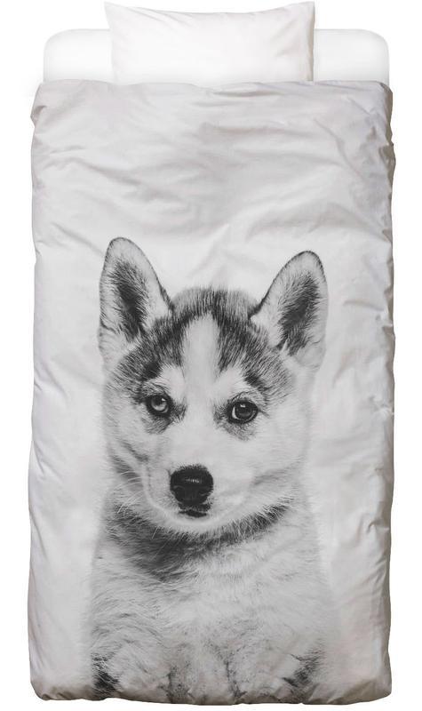 Hunde, Kinderzimmer & Kunst für Kinder, Schwarz & Weiß, Husky Classic -Kinderbettwäsche